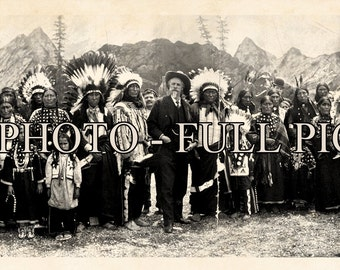 "1908 Wild Bill Cody & Group of American Indians Panoramic Photograph 42"" Long"