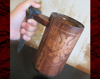 Wood Mug with Railroad Spike Handle