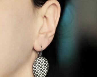 Modern earrings Minimal earrings Grey earrings Drop earrings gift Geometric jewelry Silver gift for her Earrings modern Gift for women gifts