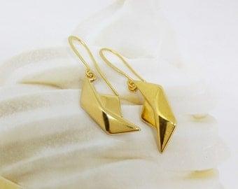 Gold origami earrings, Gold boat earrings, Boat earrings, Gold boat earrings, Boho chic earrings, Gold dangle earrings, Origami jewelry