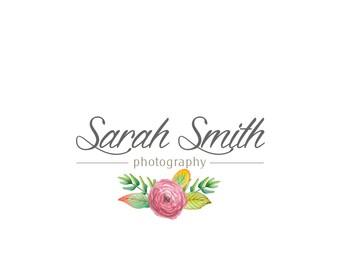 Watercolor custom logo design / Photography logo / Floral logo / Boutique logo / Premade logo