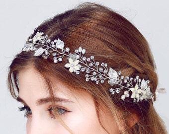 Bridal Vine, Silver Leaf Vine, Silver Leaf Headband, Rhinestone Vine, Crystal Vine, Pearl Vine, Bridal Headpiece, Bridal Headband, Bridal