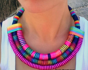 Multi Strand African necklace / fabric Statement necklace , African jewelry, fabric jewelry , Massai