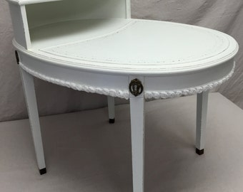 Antique White Oval Table Two Tier Side End Occasional Hand Painted Shabby Chic French Country