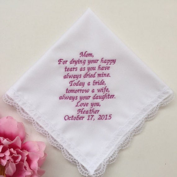 Personalized Wedding Gift For Mom : Personalized Wedding Handkerchief For Mother Of Bride/Wedding Gifts ...