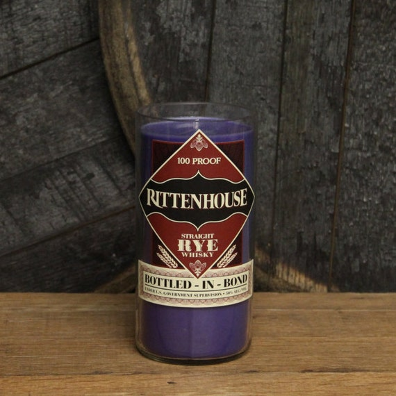 Rittenhouse Rye Whiskey Candle, Recycled Bourbon Bottle, 18oz Soy Candle, 750ml Recycled Glass Bottle, Groomsmen Gift, Man Cave Decor