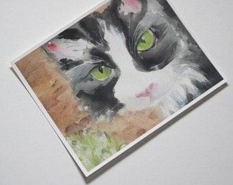 Tuxedo Cat Print Watercolor Artwork Black and White Feline Wall Art Tabby Picture Kitty Painting Portrait Halloween Nursery Childrens Decor