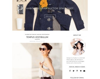 """Responsive Blogger Template - Simple - Minimal - Customizable - """"Victoria"""" - Slider and Drop Down menu - Blogger Theme, Instant Download"""