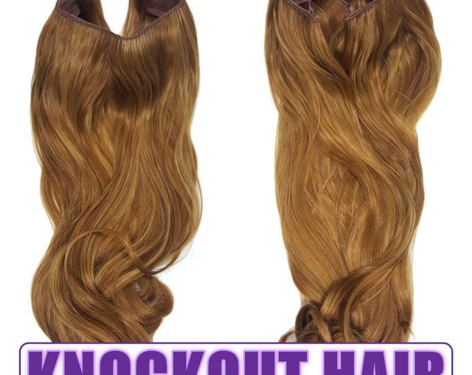 "Fits like a Halo Hair Extensions 20"" - 150 Grams 100% Premium Fiber Wavy Hair (Light Golden Brown/Dark Golden Blonde - P#27/27HY)"