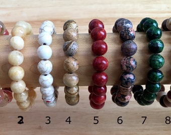Power Bracelets | Beaded Bracelet | Genuine Gemstone 10mm Beads