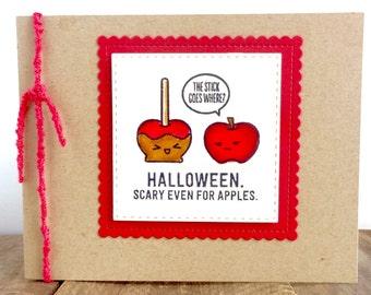 Halloween Card, Funny Halloween Card, Adult Halloween Card,  Dirty Greeting Card, Caramel Apple, Candy Apple, Dirty Card, Handmade