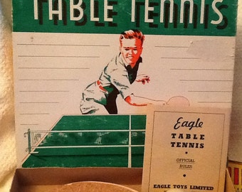 Mid-century (c.1950s) Table Tennis set manufactured by Eagle Toys Ltd. in Montréal Canada.  Complete.  MINT!