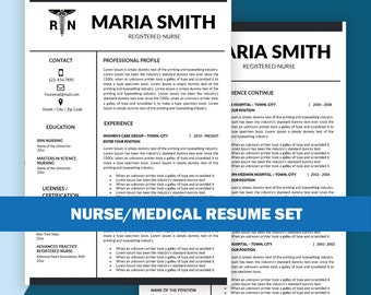 Nurse Resume Template, Resume Template Nurse / Medical Resume, Nursing  Resume Template, Cover  Medical Resume