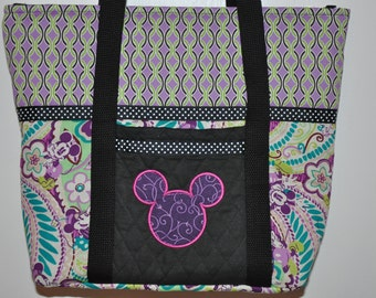 New! Mickey Mouse Fabric Embroidered Appliqued Quilted Handbag - Shoulder bag - Tote Bag