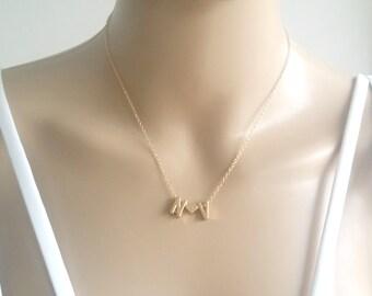 Love Initial Necklace, 2 Love Initial Necklace, 2 Heart Initial Necklace, Tiny Gold Love Initial Necklace, Personalized Initial Necklace
