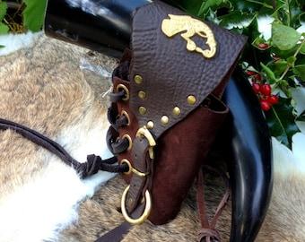 REFERENCE ONLY - Viking Drinking Horn With Leather Holster, Replica Viking Rus Buckle & Huginn - Medieval/Larp/Fjörukráin/Ragnorak