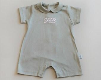 Baby peter pan collar girl romper- toddler boy romper-toddler romper peter pan collar-pima cotton-personalized romper-baby boy romper-romper