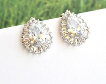 Cubic Zirconia Teardrop Silver Earrings Bridal Stud Earrings Wedding Crystal CZ Earrings Bridal Jewelry