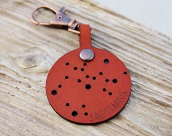 Sagittarius Constellation Boho Leather Keychain Keyring - November December Birthday Stars Astrology star sign Horoscope Bag Charm