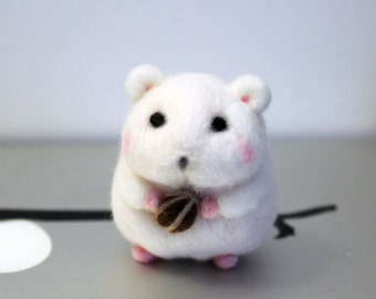 Cute Mini Needle Felted Hamster Miniature, Christmas Ornament, Christmas Gifts, Accessory, Keychain