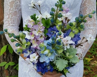 Bridal Bouquet Flowers Silk Wedding Bouquet Bridal Shades of Blue Mauve Artificial Flowers