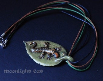 Handmade Polymer Clay Lizard Gecko on a Green Leaf Pendant Necklace Nature Animal Jewellery