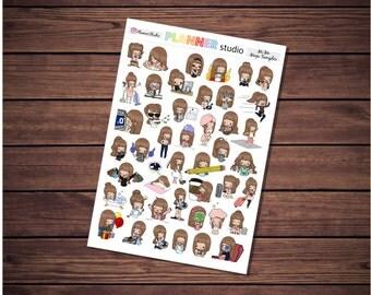 Mi'Me Mega Sampler Kawaii Chibi Girl Emoticon Planner Stickers - Erin Condren Life Planner, Happy Planner, Inkwell Press & Filofax