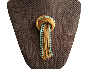 60s Vintage Statement Gold Mesh And TURQUOISE Crystal Brooch