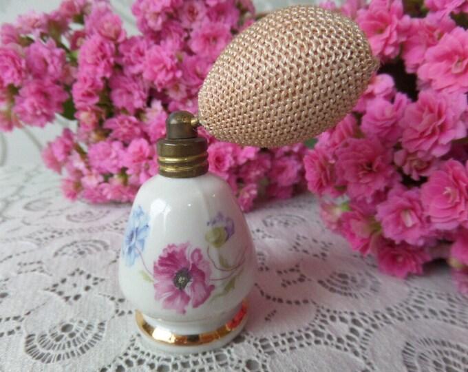 "Bavarian Porcelain Perfume Atomizer, Western Germany Circa 1950, White, Gold Gilt, Decorative Only, Floral Transferware, 2.75"" x 2"""