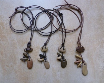 Totem Necklace. Beach stones. Pebble necklace. Organic jewelry.