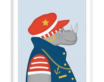 Poster Sailor Rhinoceros | Nautical  Poster | Wall Art Children+ Nursery | fresh + clear  |   Modern Scandinavian Style