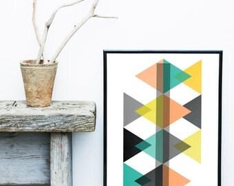 Abstract Art Print, Printable Art, Triangle Print, Diamond, Scandinavian Design, Geometric Art, Minimalist Art, Abstract Wall Art