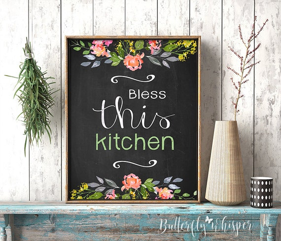 Happiness Is Homemade Home Decor Print Kitchen Quote: Kitchen Canvas Quote Print Decor Bless This Kitchen Print