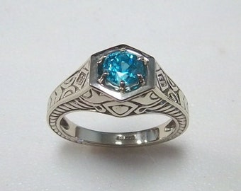 14 Karat White Gold Blue Zircon Antique Reproduction Ring