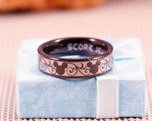 Black Tungsten Band with Flat Edge Mickey Mouse Design Pattern Ring - 8mm or 6mm Tungsten Ring