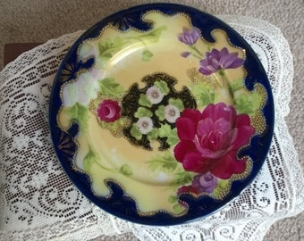 Vintage Unmarked Nippon Cobalt Blue Plate with Gold Moriage Beading