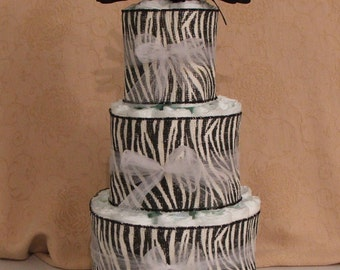 3 Tier Diaper Cake Zebra and Tulle Pattern for a Baby Shower Centerpiece