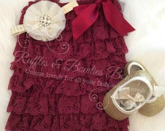 Burgundy Petti Lace Romper, Baby Romper, Girls Romper, Lace Romper, Petti Romper - Girls Romper, Burgandy Romper, Romper With Bow, Christmas