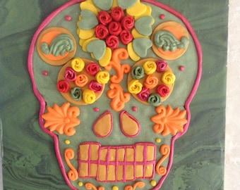 Desert Rose Day of the Dead Sugar Skull Wall Art Hanging