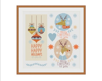 Christmas cross stitch, Christmas cross stitch pattern, Rudolph reindeer, Modern cross stitch, Easy cross stitch, Christmas diy, Xmas, PDF