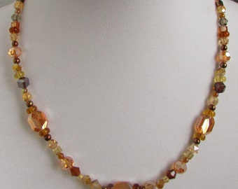 Amber Glass Multi-Texture Beaded Necklace