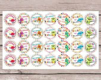 56 PERSONALISED TEACHER REWARD Stickers    Confetti Little Monsters