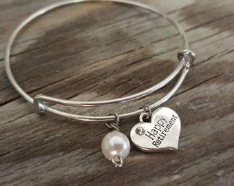 Happy Retirement Bangle - Happy Retirement Bracelet - Happy Retirement Gift - I/B