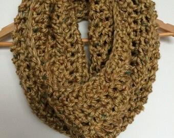 Mustard Yellow Crocheted Chunky Infinity Scarf Cowl