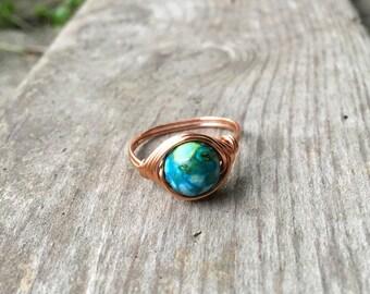 Ring, Jasper ring, Jasper stone  jewelry, wire ring, wire wrapped ring, gemstone ring, Imperial Jasper , custom ring,healing stone, natural