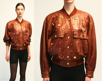 Vintage Escada by Margaretha Ley Gold Studs Charms Brads Leather Brown Bomber Jacket