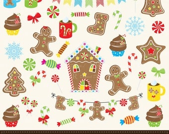 Christmas Gingerbread Clip Art, Gingerbread House, Cookies, Candy Cane, Christmas Cupcakes Clipart, Gingerbread Digital Download Vector