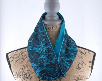 Elegant Black Lace Infinity Scarf | Lace Scarf | Black & Blue Scarf | Infinity Scarf | Cotton Scarf