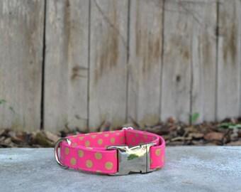 Girly Pink and Gold Polka Dot Dog Collar