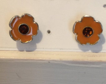 Yellow Enamel Painted Post Earrings with red center crystals